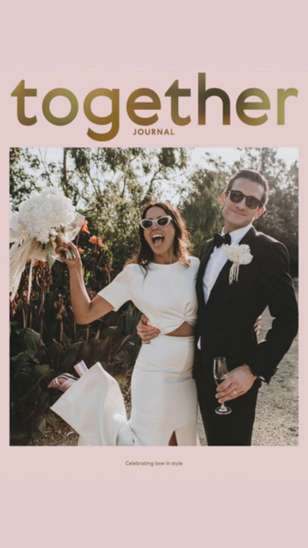 together journal pink bride groom white bouquet core cider
